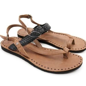 UGG Raee Black and Chestnut Leather Sandals NEW!